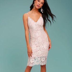 Lulu's Blush Lace Midi Dress